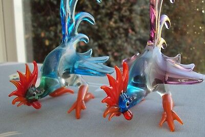 Vintage Pair Of Large Fighting Cocks By Pirelli Glass 5 Inches Tall Vgc Rare.