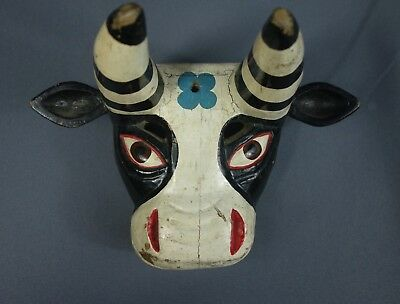 Vintage Hand Carved Bull/Torito Traditional Wooden Dance Mask from Guatemala