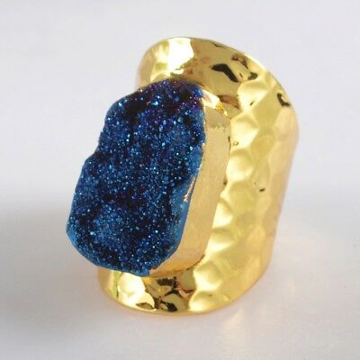 Scratched Size 6.5 Natural Agate Titanium Druzy Ring Gold Plated B072718