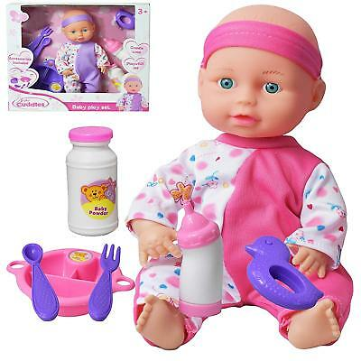 """10"""" Baby Doll Play Set with Feeding Accessories Milk Bottle Girls Toy FAST"""