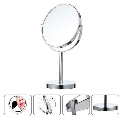 360°Free Rotation Vanity Mirror 5X Magnifying Makeup Tabletop Cosmetic Silver US