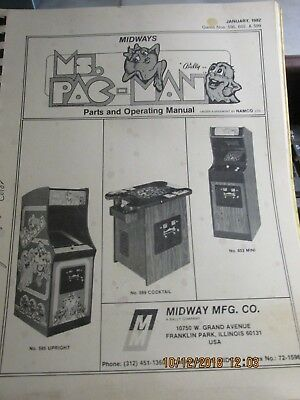 Midways Ms. Pac-man Parts & Operating Manual 1982 3 Models