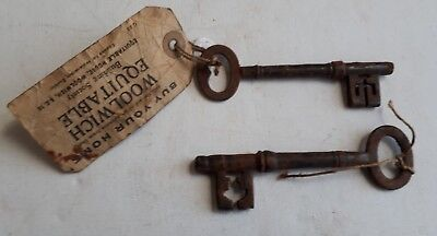 Antique Pair Large Cast Keys With Label Burton On Trent Architectural Antiques