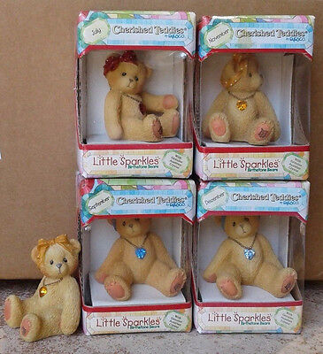 New Cherished Teddies Birthstone Bear Little Sparkles Birthday Lot Of 5 Nib 1996