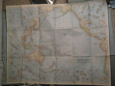VINTAGE PACIFIC OCEAN LARGE WALL MAP National Geographic December 1952