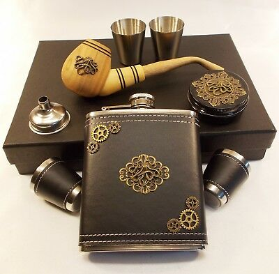 Octopus Flask Set + Wood Tobacco Pipe - Gift Set in Box - Hand Designed