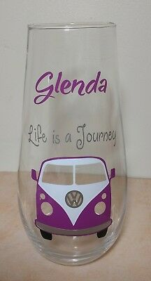 VW CAMPERVAN GLASS FLOWER VASE gift Personalised any name Present Christmas idea