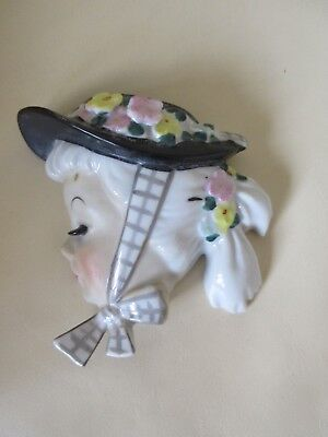 Vintage 1950's Lefton Girl Wall Pocket - Girl Wearing Hat Tied With Ribbon Japan