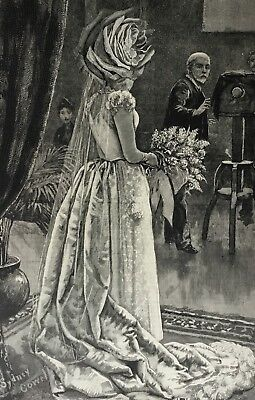 ORIGINAL SURREALIST COLLAGE   Antique Tolli La Sposa Mori wedding Serrano dress