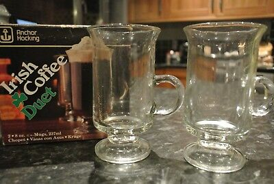 Vintage 1970s Anchor Hocking Irish Coffee Duet Gl Set Made In The Usa