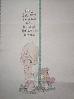 Precious Moments Hand Made Counted Cross Stitch Baby Growth Chart