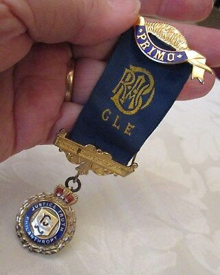 Solid silver hallmarked gilt & enamel Masonic Willoughby Lodge medal