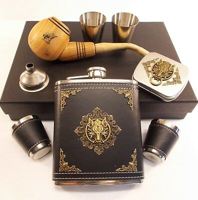 Wolf Flask Set + Wood Tobacco Pipe - Gift Set in Box - Hand Designed