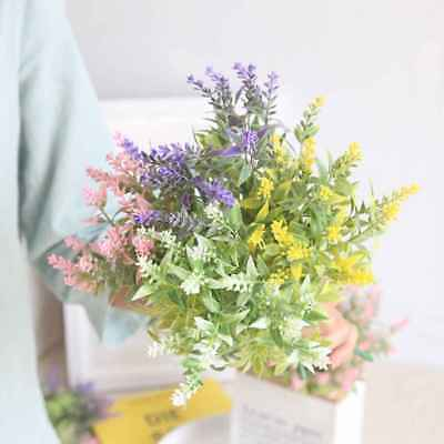 15Heads Artificial Flowers Lavender Fake Bridal Bunch Wedding Party Home Decor