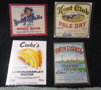 Lot of 4 Soda Labels NOS Cooke's Yankee Doodle Twin Lights Kent Club