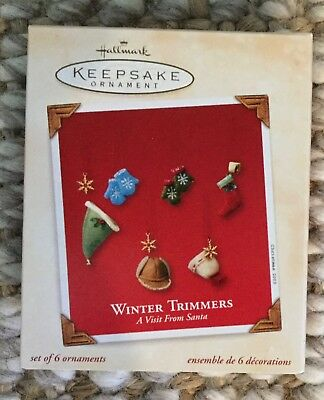 Hallmark  2003  Winter Trimmers  Set of 6 Miniature Ornaments