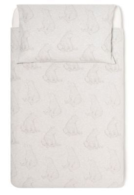 The Little Green Sheep WILD COTTON ORGANIC COT BED DUVET COVER SET - BEAR - BN