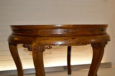 Rare Antique Chinese Asian Pair Demilune Console Table Hall Dining Qing Dynasty