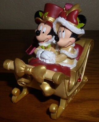 Disney Ornament Victorian Sleigh Mickey & Minnie Mouse NEW