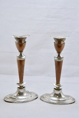 Vintage Pair Copper & Silver Plated Candlesticks Art Deco