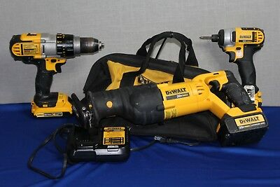 DeWalt Set of Power Tools Sawzall Impact Driver Drill with Batteries & Charger