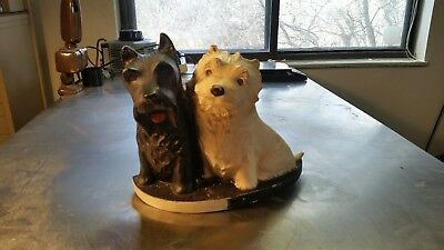 Black and white whisky scottie dogs bar display