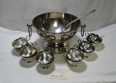 Vintage Silverplate Punch Bowl & Cups - Roma S.L. Spain