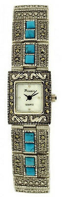 Picador Marcasite Antique Metal Finish Turquoise Crystals Analog Wrist Watch