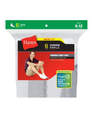6 Pair Hanes Men's Cushion Ankle Socks Stay-Up Top