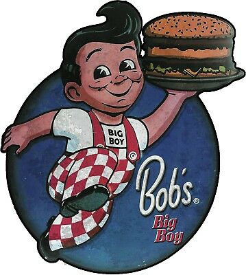 Bob's Big Boy Distressed Plasma Cut Metal Sign