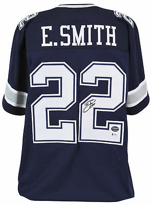 e76d1e6d3 Cowboys Emmitt Smith Authentic Signed Navy Jersey Autographed BAS Witnessed