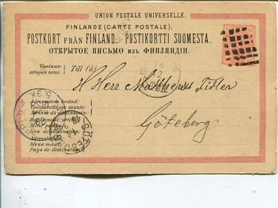 Finland figure cancel on postal card from Peksa via Åbo and Russia t Sweden 1888