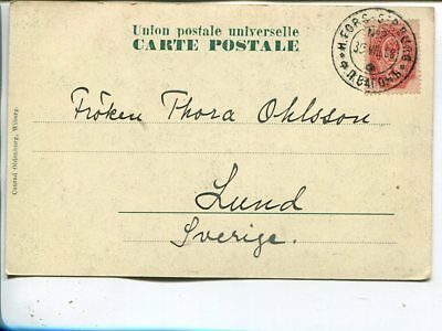 Finland 4kop Russia stamps on picture post card to Sweden Hfors-SPetersb 1908