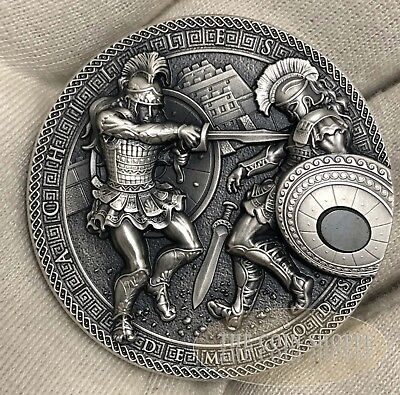 ACHILLES VS HEKTOR DEMIGODS SERIES 2017 2 oz Pure Ultra High Relief Silver Coin
