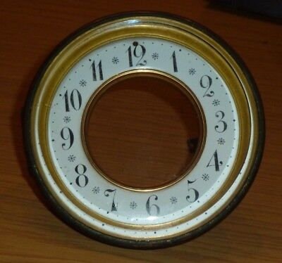 French mantel clock bezel c1900 with bevelled glass & enamel chapter ring