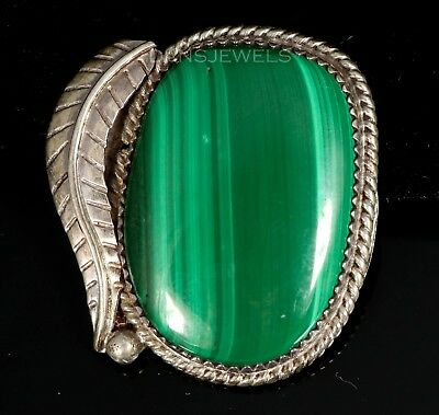 Solid Old Pawn Vintage NAVAJO Sterling Green Malachite 70's Pendant