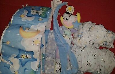 Little BABY SNOOPY crib sheet bumpers mobile hanging diaper holder PEANUTS lot