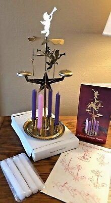 """Vintage Advent Candles Angel Carousel Chime Spinner 12"""" Tall ~ Made In Sweden"""