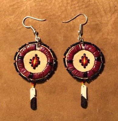 Very Beautiful New Pair Of Lakota Sioux Quilled And Beaded Earrings