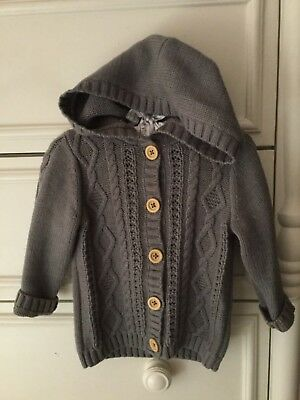 Carter's Baby 18 Months Gray Hooded Knitted Sweater Gender Neutral Boy Girl