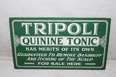 Vintage 1930's Tripoli Quinine Hair Tonic Barber Shop Drug Medicine Gas Oil Sign