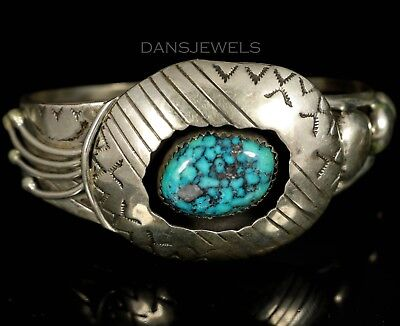 Navajo Vintage OLD PAWN Traditional Sterling Silver Turquoise Bracelet