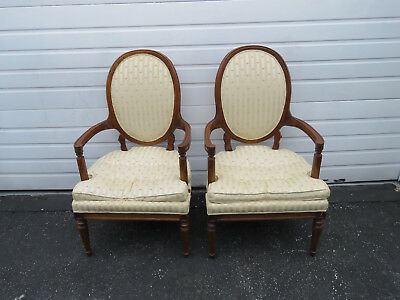 French Cameo Back Vintage Pair of Side Fireplace Living Bed Room Chairs 9227