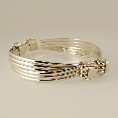 Elephant hair bracelet  4 knot 6 strand style made with Solid Sterling Silver