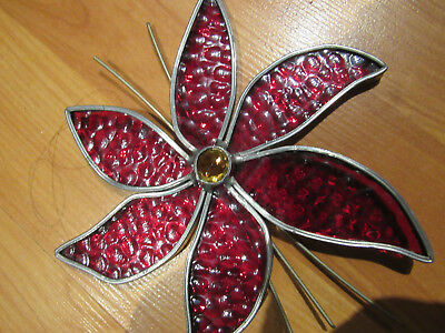 Vintage Stained Glass Poinsettia flower wall window tree hanging GUC