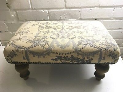 Flemish Tapestry Footstool Ottoman French Style Toile de Jouy Vintage