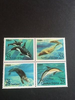 Us Stamps Scott 2508-2511 Sea Creatures Block Issued 1990 Mnh Og