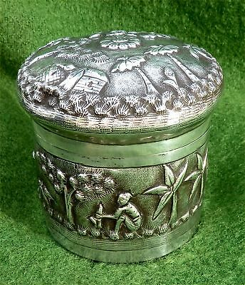 RELIEF DECORATED INDIAN (LUCKNOW) SOLID SILVER LIDDED CONTAINER c1890 - 3.65 ozt