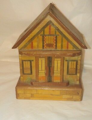 Vintage Japan Inlaid Wood Puzzle Box House Coin Bank w/Keys by B.S Co. Original