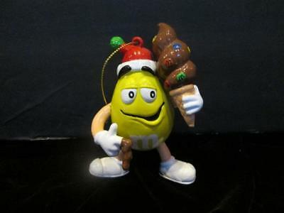 """M&m's Ornament Yellow Peanut With Chocolate Ice Cream Cone 4 """" Tall Gently Used"""